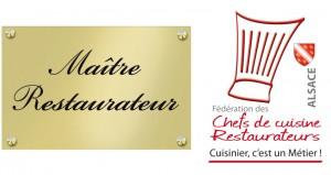 Plaque maitre restaurateur pour le restaurant le Relais des Saveurs à Marlenheim