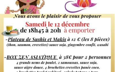 Samedi 12 décembre BOX Zen Asiatique et plateau Sushis et Makis