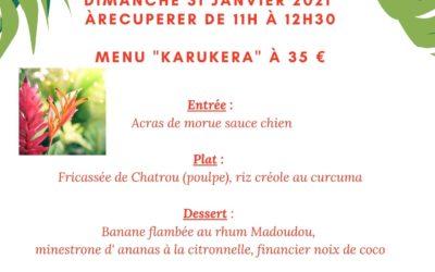 """Dimanche 31 janvier menu spécial """"Karukera"""" à 35 euros"""