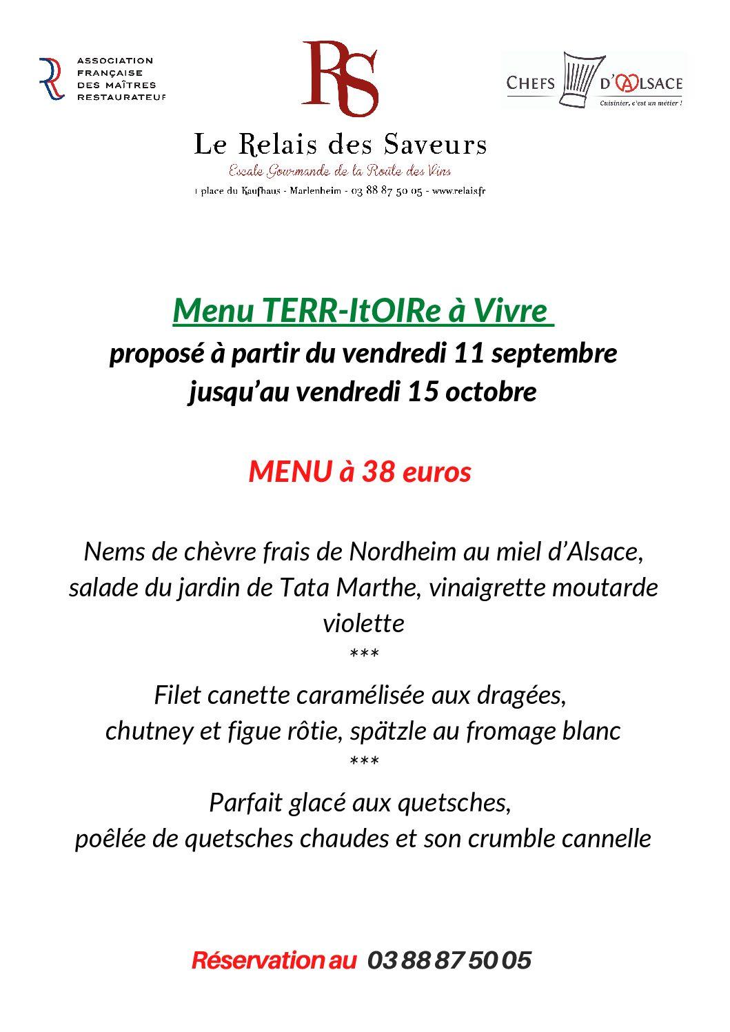 Evènement « Un TERR-itOIRe à Vivre » du 11 septembre au 16 octobre 2021  Menu du Terroir avec produits locaux