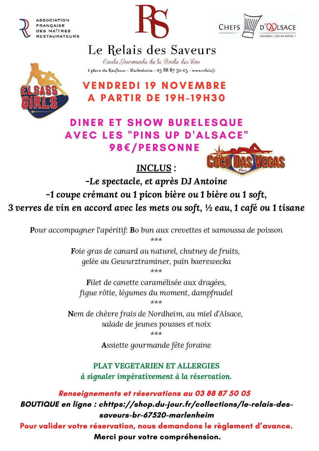 Vendredi 19 novembre Dîner show spectacle avec les PIN UP ALSACE…
